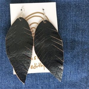 Jewelry - Large Boho Leather Feather Earrings Black